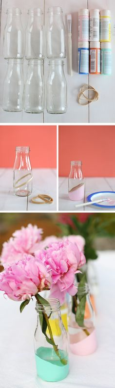 DIY: Pastel dipped milk bottles. I love the way this looks! You could use an old Starbucks bottle, too!