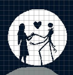 Nightmare Before Christmas, Jack and Sally Crochet Pattern Graph/Chart