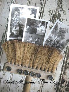 vintage brush photo display