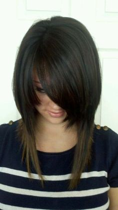 Long Inverted Bob Hairstyles with Side Bangs