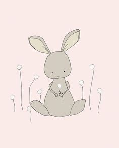 Bunny Art Print -- Woodland Nursery -- Nursery Art Print -- Bunny Dandelion Wish -- Children Giclee Art Print, Kids Wall Art on Etsy, $136.80
