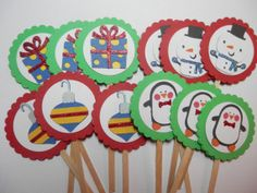 Fun festive cupcake toppers from SimplyMemories on Etsy