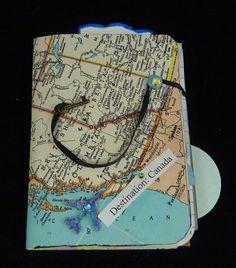 Travel journal Canada handmade mixed media art collage smash book travel planner