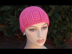 Crochet for Cancer's Basketweave Vertical Stripe Cap