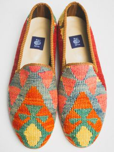 colorful loafers made of Turkish rugs