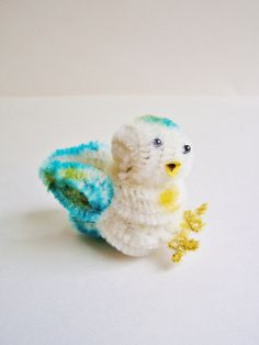 Delia the Birdie -- vintage style chenille handmade wired miniature animal - ornament, gift, topper, petite decor. $11.99, via Etsy.