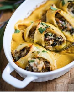 Stuffed shells with pumpkin parmesan sauce