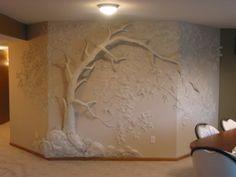 Дерево из гипсокартона на стене своими руками
