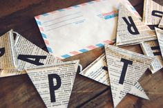 print onto book pages and create bunting banner. so easy!