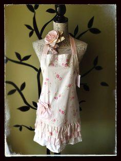 Pretty in Pink Triple Frill Floral Cotton Apron $44