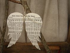 "Recycled hymnal angel (lots of other awesome ideas on this blog, too.) ""Once upon a farm..."""