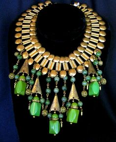 ~A vintage Egyptian Revival inspired Bakelite bib necklace available through Unforgettable Vintage, circa 1940s~