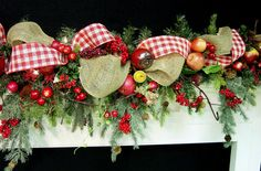 Woodland Country Mantel Garland Williamsburg prelit Apples Burlap Christmas 4 season red Cascading design by Cabin Cove Creations