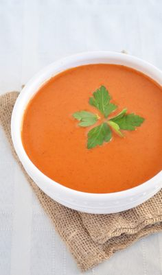 Healthy roasted red pepper soup!  Try it out!