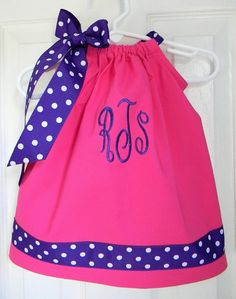 Monogrammed Pillowcase Dress in Pink and Purple.