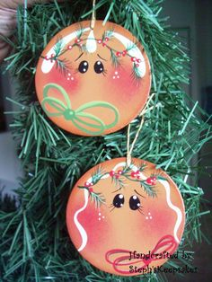 Handpainted Gingerbread faces Ornaments