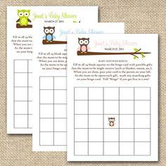 baby shower bingo cards - owl