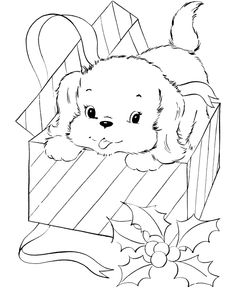 Puppy for Christmas - Pet Dog Coloring page