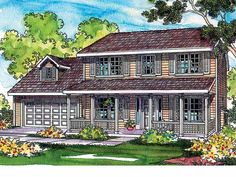 Home Plans HOMEPW00497 - 1,608 Square Feet, 3 Bedroom 2 Bathroom Country Home with 2 Garage Bays