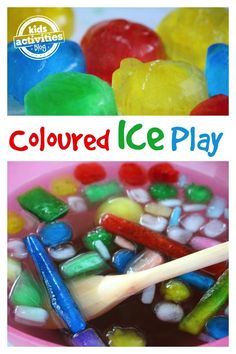 Colored Ice Activity Bin. This will be so fun when it gets hot!