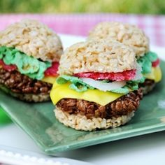 Burgers out of rice crispy treats