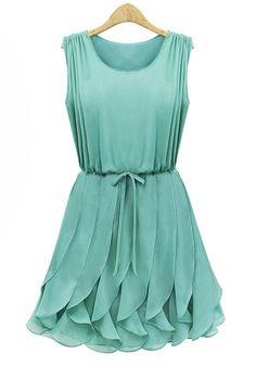 Green Ruffles Pleated Chiffon Dress.