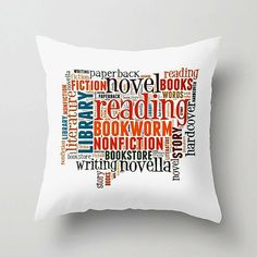 BOOKWORM Decorative Throw Pillow for Readers, $30.00