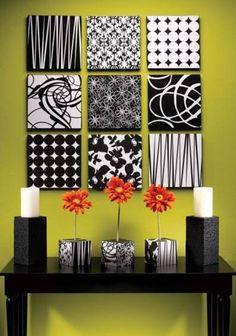 Redesign living room -modern wall art using scrap fabric