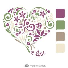 Mulberry, Sage, Ashwood, and Champagne Wedding Color Palette - free custom artwork created at MagnetStreet.com