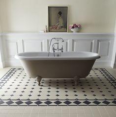 panelling, painting and a bathtub - Buxton Border 10cm Black/White...