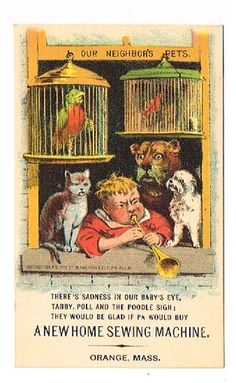 """Trade Card New Home Sewing """"Sadnes Tabby Poll Poodle Sigh"""" Bbby Plays Horn  """