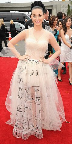 "Crazy, Sexy, Cool: All the Red Carpet Fashion | KATY PERRY | ""It's musical for music's biggest night,"" the singer said of her straight-off-the-runway Valentino Haute Couture tulle gown, adorned with music notes on the skirt."