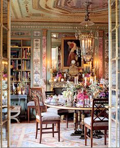 Through the mirrored doors....Howard Slatkin's nyc dining room