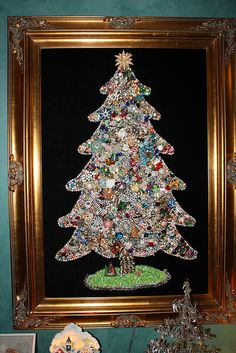 Jewelry Christmas Tree: There's no tutorial for this, but I can assume it's jewelry glued onto the tree pattern. I could so do this. Just got to get to some thrift stores and yard sales to find some jewelry to make one from.