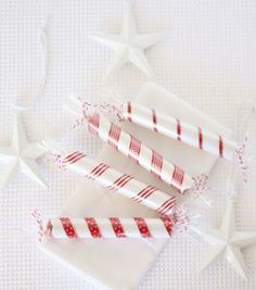 Lifesaver Bonbons made by covering wrapped candy in white paper, ribbon, and cellophane.