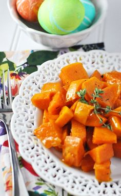 honey apricot roasted sweet potatoes by Jennifer Leal @savorthethyme
