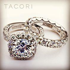 Tacori diamond engagement ring and matching wedding band.