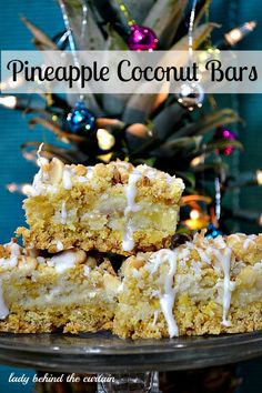 Pineapple Coconut Bars | #christmas #holiday #xmas #baking #christmasinjuly #summer #beach #party