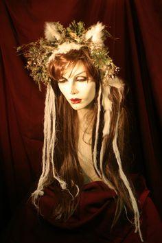 White Spirit Wolf - full Wig -  Hair Headpiece Costume Faerie world Renaissance Fairy Wedding Burning Man theater. $149.99, via Etsy.