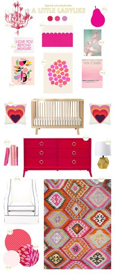 a little ladylike nursery inspiration board- I love the colors for my own home!