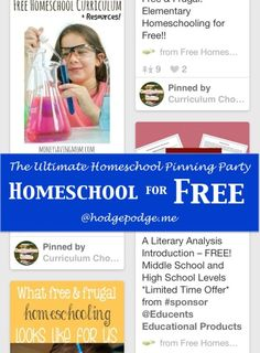 Homeschool for Free at The Ultimate Homeschool Pinning Party!