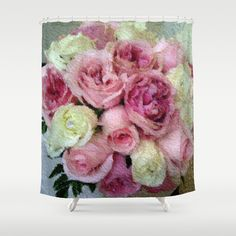My photograph of my daughter-in-laws gorgeous #Wedding Memories  helped me to create this beautiful pink roses shower curtain.