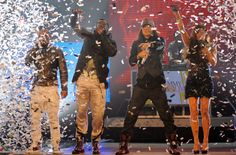 "Black Eyed Peas perform ""I Gotta Feeling"" during ""The GRAMMY Nominations Concert Live!!"" in 2009.  The 55th Annual GRAMMY Awards air 2.10/13 on CBS! #TheWorldIsListening  Photo: Michael Caulfield / WireImage. com"