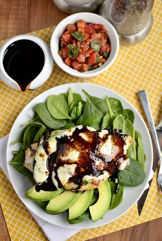 Avocado Mozzarella and Bruschetta Chicken by iowagirleats: Fresh, healthy and fast. #Chicken #Avocado #Bruschetta