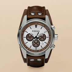 Cuff Leather Watch – Tan $115  Go casual with this stainless steel watch. The tan dial features wood accents and chronograph movement adds extra functionality. The brown genuine leather strap has silver-tone stud detail and gives this watch a sporty look you'll love.
