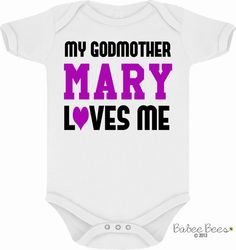 My Godmother Loves Me, Baby Girl Clothes, Baby Boy Clothes, I Love My Godmother, Godmother Baby Clothes, God Mother Gift, Personalized Baby