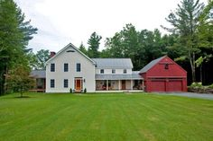 modern farmhouse, farmhouse addition exterior, red, dream, garag, hous idea, beams, timber frames, barn homes