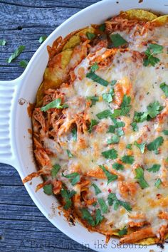 Easy Chicken Chilaquiles {A Pretty Life}  |  Tortilla chips, salsa & loads of cheese...how can you go wrong with that?!
