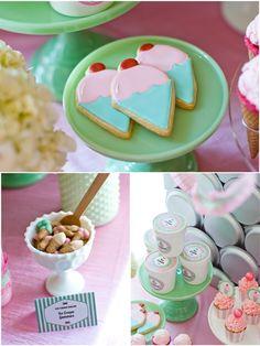 Printable Ice Cream Parlor Decorations!! #icecream #ice #frozen #parlor #printables #party #partyideas #pretty #pink #inspiration #festas #festa #sorvete #glace #anniversaire #birthday