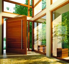 Contemporary front door provides security while remaining aesthetically pleasing.